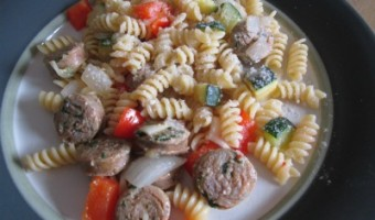 Italian Sausage Rotini with Bright Spring Veggies Recipe