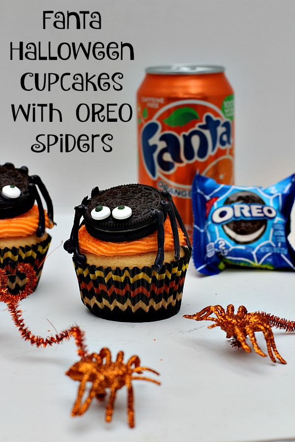 #SpookySnacks #ad Fanta Halloween Cupcakes with OREO Spiders