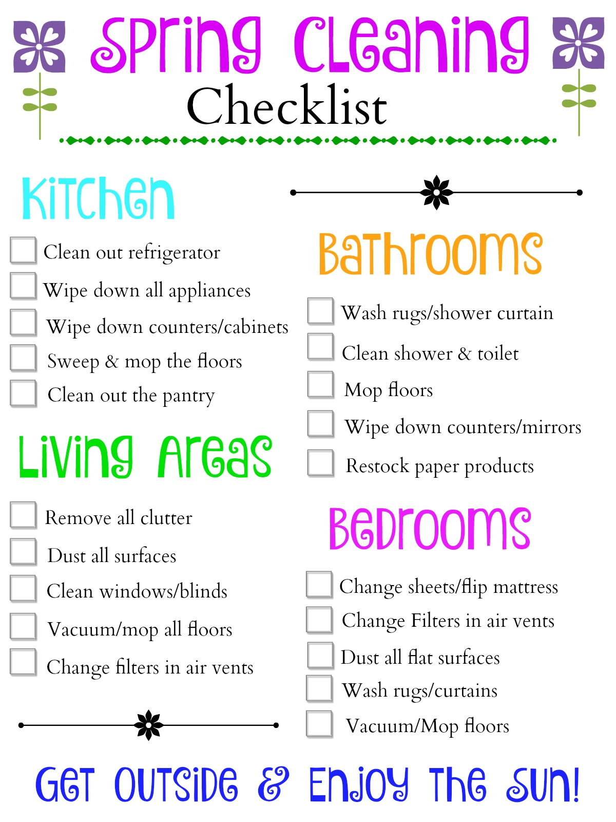 High Quality Spring Cleaning Checklist