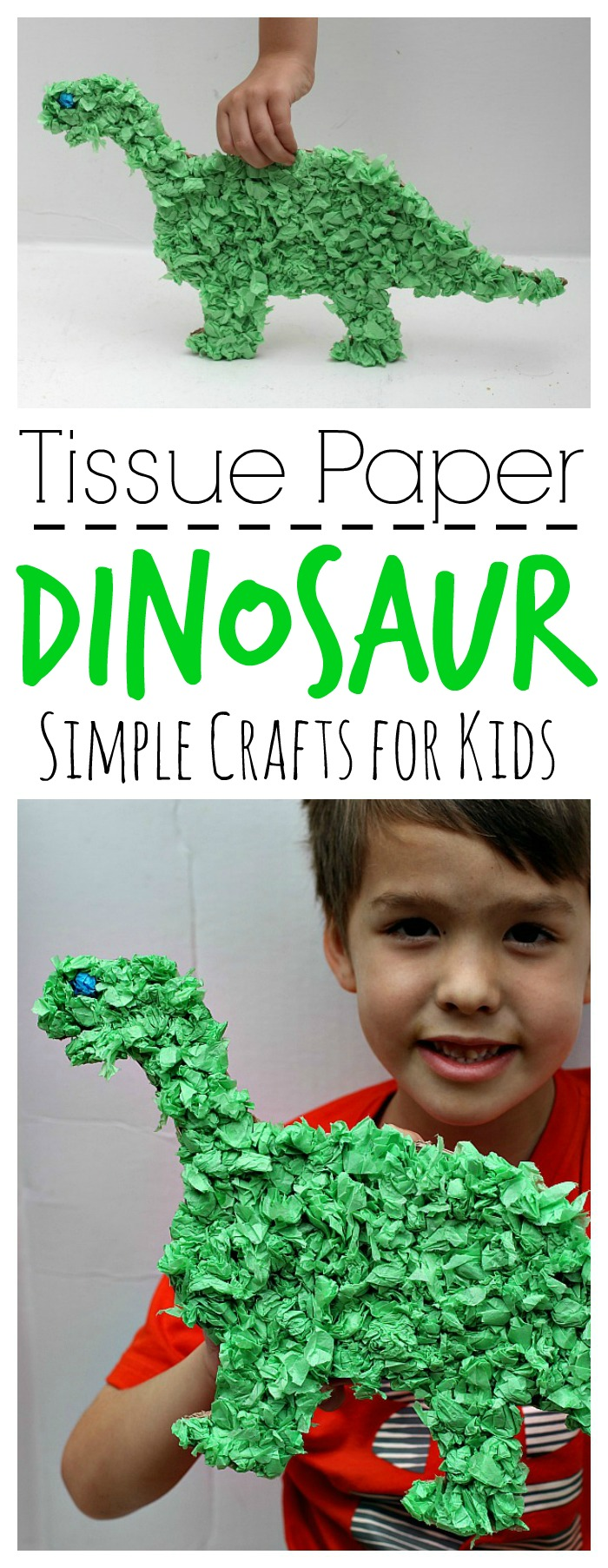 Tissue paper dinosaur craft the adventures of j man and for Tissue paper for crafts