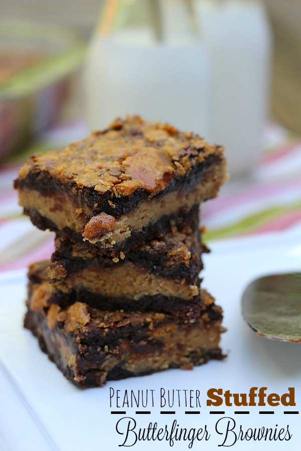 #mixinmoments #ad Peanut Butter Stuffed Butterfinger Brownies