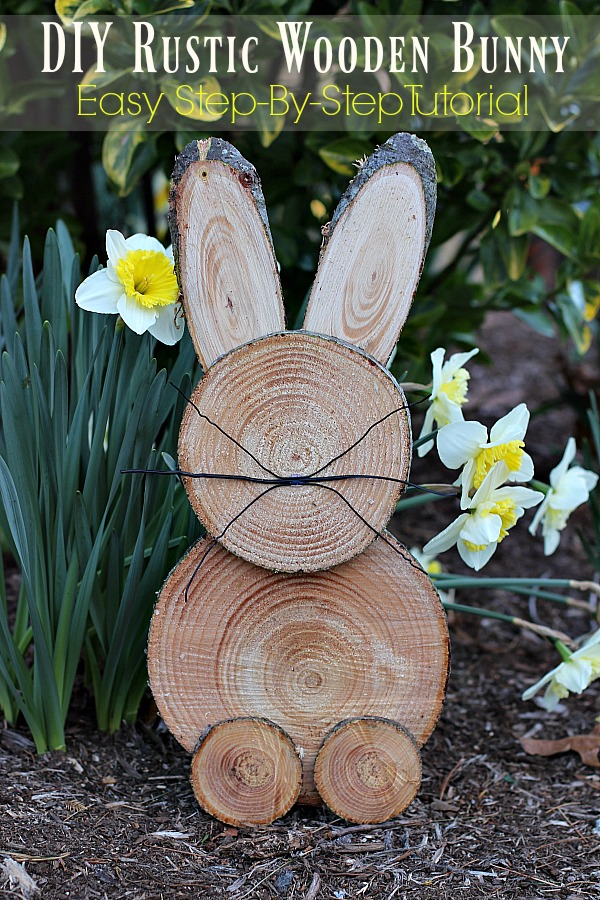 Diy rustic wooden bunny a step by step tutorial the for Wooden garden ornaments and accessories