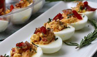 Rosemary, Bacon & Pimiento Cheese Deviled Eggs