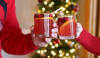 Sugared Cranberry, Orange and Ginger Holiday Spritzer (Non-Alcoholic)