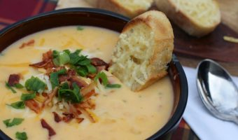 Loaded Potato Soup with Crusty Garlic French Bread